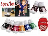 6pcs/lot Baby Shoes socks First Walking Newborn Anti-slip Socks Baby Ankle sock