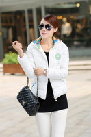 Hot Sale New 2014 Women Winter Short Slim High Quality Appliques Full Sleeve Hooded Cotton- Padded Outwear Casual Jacket LJ324