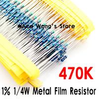 (200Pcs/Lot) 1/4W 470Kohm +/- 1% resistor 1/4w 470K ohm Metal Film Resistors / 0.25W color ring resistance