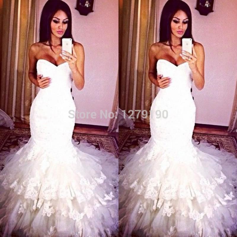 Real Sample Photo Sweetheart Mermaid Wedding Dresses Lace Bridal Gown 2014 Most Popular Fishtail Vestido de noiva Princesa(China (Mainland))