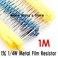 (200Pcs/Lot) 1/4W 1Mohm +/- 1% resistor 1/4w 1M ohm Metal Film Resistors / 0.25W color ring resistance
