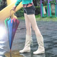 2014 fashion women rainboots mid-knee warm snow rain boots low heels waterproof boots water shoes korean style   XY278