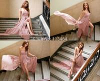 2014 Asymmetrical open back side slit sexy vestidos de fiesta evening dress special Formal Evening Gowns