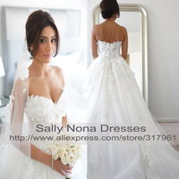 Real Samples 2014 Sweetheart Neck Back with Zipper Lace Appliques Beads Down Organza Ball Gown Wedding Dress Luxry Bridal w018