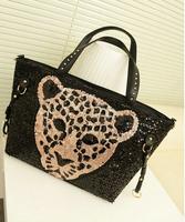 2014 Women Handbag Paillette Leopard Print Tiger Fashion Women's Shoulder Bag Female bags Tassel Big Bags Black FREE SHIPPING