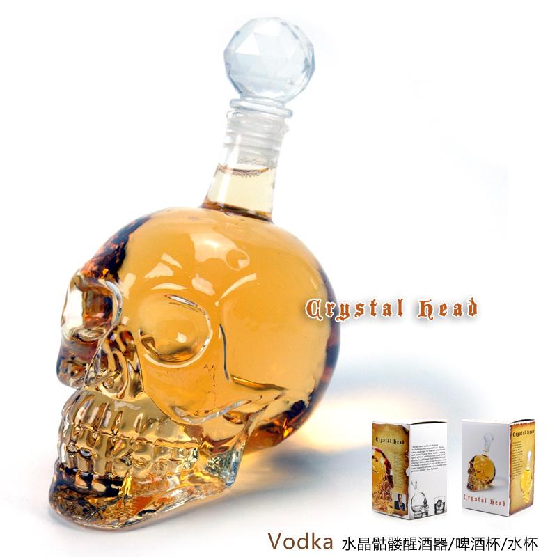 Fantasia Halloween bottle Crystal Head Vodka Skull Bottle tableware creative cup glass bottle big size large capacity(China (Mainland))