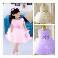 Hot sell!! new sleeveless Waist Chiffon Dress Girls Toddler 3D Flower Princess Party Bow Kids Dress Y-01