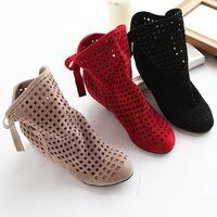 Plus size Lace-up Flat Boots Women Cut-out Ankle Boots Summer Sandal boots botas femininas 2014