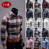 Drop Shipping 2014 New Fashion Casual Grid long-sleeved mens shirts, Fashion Leisure styles lim fit dress shirt 19 colours