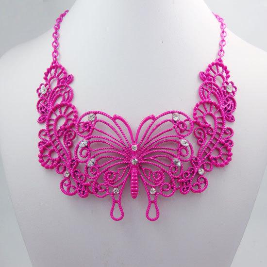 Fashion Style Hot Pink Butterfly Chunky Chain Bib necklace Pendant(China (Mainland))