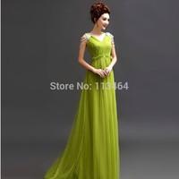2014 Lowest Vestidos De Renda V Neck Beading Chiffon Green Long Formal Evening Gowns Women Evening Dresses