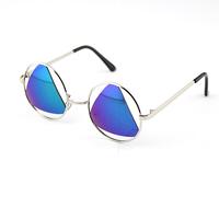 Men's Sun Glasses 2014 Fashion Circle Metal Frame Triangle Lens Lunette Oculos Gafas De Sol Male Hipster Geek Womens Sunglasses