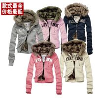 2014 winter thicken Hoodie Single letter skinny warm coat cotton European and American style zipper outerwear coat free shipping
