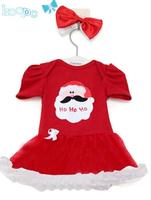 Hot sale baby dress Girl's dresses christmas dress santa claus costume baby girls red tutu short sleeve dress + headband
