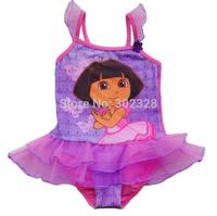 Girls swimsuit Dora kids swimwear dress beachwear swimsuit one piece bathing suit children 2014 bikini Dora swimwear baby