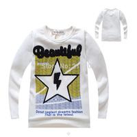2014 fashion Children boy girl letter T shirts new kids autumn star t shirt patchwork white/green long sleeve tops