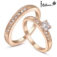 Italina Rigant Top Qualtiy 18K Rose Gold/Platinum Plated 2Pcs/set Shiny Zirconia Rhinestone Engagement Rings For Women Wholesale