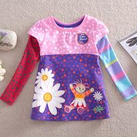 Children's clothing wholesale 2014 new long skirt T-shirt girl long sleeve shirt cotton T-shirt F1960