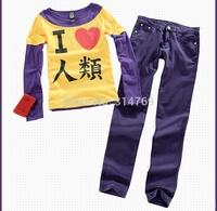 Japanese New Cartoon No Game No Life Cosplay Clothes - Sora Cosplay set  I Love Human Being Long Sleeve T-Shirt + Pants