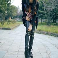 Hot New Fashion Style Women's Slim Pants Feet 3-zipper Leather Pants Leggings