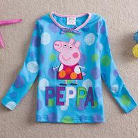 2014 spring / autumn new kids Pepe pig peppa pig cotton Girls Long Sleeve T-Shirt