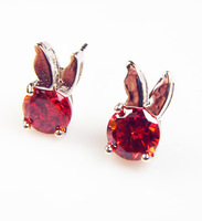 Anti-allergy high quality cute rabbit swiss AAA+ cubic zircon diamond crystal stud earrings for fashion girls christmas giftt