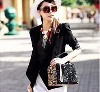 2014 new hot ladies hand bag leopard bag sequins singles