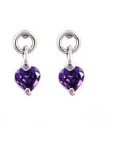 OL lady simple Elegent heart Amethyst small drop Earrings18K Gold Plated purple Crystal Cubic Zircon Fashion jewelry For Women