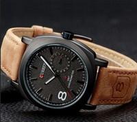 2014 Quality CURREN Men Wristwatch Men Quartz Watch Military Watch Men Genuine Leather Strap Sports Watches Fashion Casual Watch