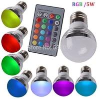 RGB lamp 5W RGB E27GU10 MR16 16 Colors LED Light Bulb Lamp Spotlight 85-265V + IR Remote Control