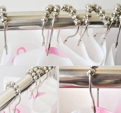 12pcs/ set Home Polish Chrome Bath Shower Curtain Poles RollerRings Ring Premium(China (Mainland))