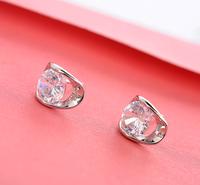 Super sparling ol loady swiss bezel AAA+ cubic zircon diamond crystal stud earrings for fashion women girls Anti-allergy jewelry