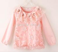 Girls toddler flower collar long sleeve pink white  T shirts,4pcs/lot,GD-14LYH010