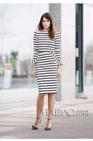 Free Shipping ! 2014 European Early Autumn Star Flare Sleeve Shirt + Skirt Slim High-end Stripe Twinset