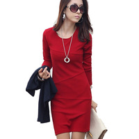 2014 Winter Autumn Long Sleeve Dress Vestidos Casual Femininos Elegant Plus Size Mini Package Hip Women Dresses 1499