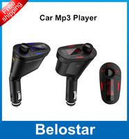 Hot Sale Red LCD Car Kit Car MP3 Music Player Wireless FM Transmitter Modulator With USB SD MMC Card Slot  1PCS Free Shipping