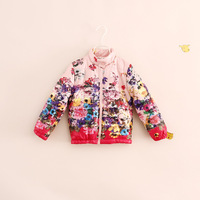 wholesale fashion brand design children girl floral cotton-padded jackets warm coats 3 color
