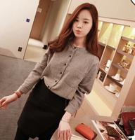 2014 New Fashion Brief Korea Style Women Slim Base Shirt Plaid Crop Linen Temperament Elegant Ladies Tops Trend All-match Blousa