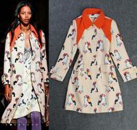 Best Quality Fashion New Winter Coat 2014 Women Turn-Down Collar Digital Bird Prints Long Woolen Coat Jacket Casual Outerwear