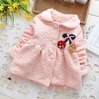 2014 autumn and winter new style baby girls children kids cartoon cherries casual jackets cardigan sweater coats