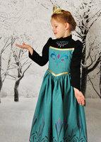 2014 New Frozen Anna Green Dress With Cape 5 Sets/Lot Frozen Girl Dress Long Sleeve Dress Size100-140 Frozen Girl Autumn Dresses