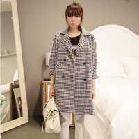 2014 new autumn fashion trench coat for women long-sleeved Argyle overcoat Plus size Free Shipping NV177
