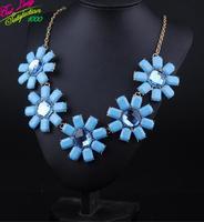 2014 New Arrival Vintage Colorful  Flower Big Long Resin Gem Necklace Resin Necklace Women Choker Necklace 9307