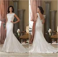Customized Vestidos de Novia New 2014 Romantic Mermaid Wedding Dresses Lace Appliqued Sexy Back Wedding Dress Vestidos de Gala