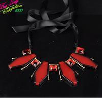 2014 Vintage Colorful Flower Big Long Resin Gem Resin Drip Necklace Women Choker Silk  Necklace Good Quality Hotsale 9309