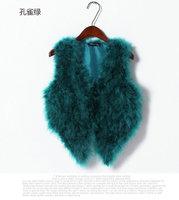 2014 New Fashion Women Autumn Winter Top Real Ostrich Fur Vest Short Sleeveless Coat Jackets Ladies Clothes 19 Colors B1207