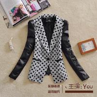 Free shipping U&Me2014 autumn fashion women elegant slim PU patchwork dot female suit blazer outerwear