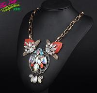 2014 Vintage Colorful Flower Big Long Resin Gem Necklace Resin Necklace Women Choker Necklace Good Quality Hotsale 9308