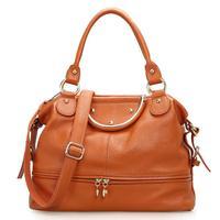 Hot Women bag casual genuine cow leather bucket tote shoulder Messenger bags handbag bolsas with front Zipper, Q0504