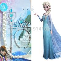 Hot Sale Girls Frozen Elsa Ornaments Sets Magic Wand + Rhinestone Crown + Hairpiece Children party accessories Kids Frozen toys